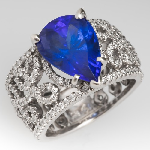 5 Carat Tanzanite & Diamond Wide Band Ring 18K White Gold