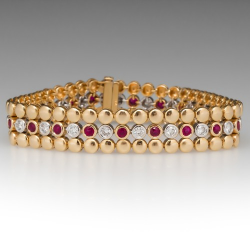 18K Yellow Gold Bezel Set Diamond & Ruby Bracelet 7-Inch