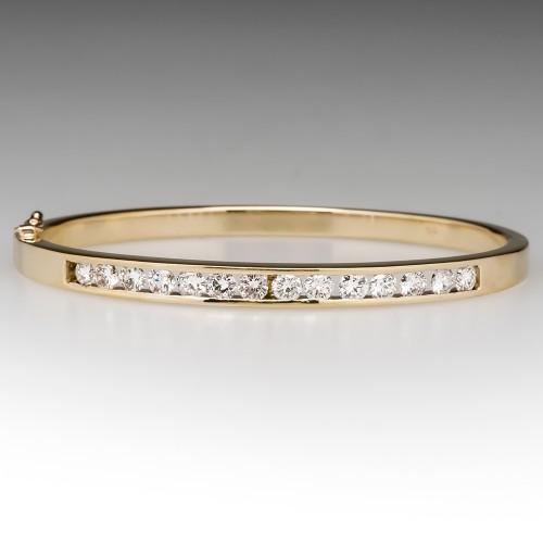 2.2 Carat Channel Set Diamond Hinged Bangle Bracelet 14K