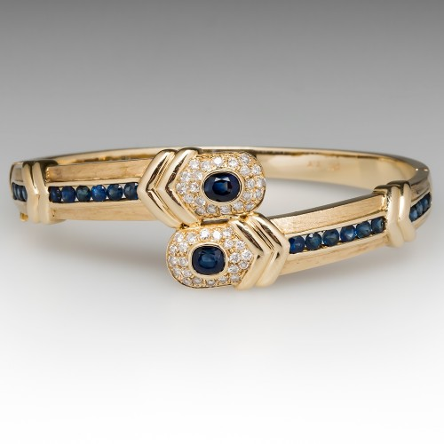 Blue Sapphire & Diamond Bypass Style Bangle Bracelet 14K