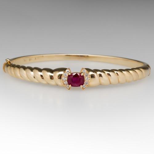 Dark Vibrant Red Ruby & Diamond Bangle Bracelet 14K