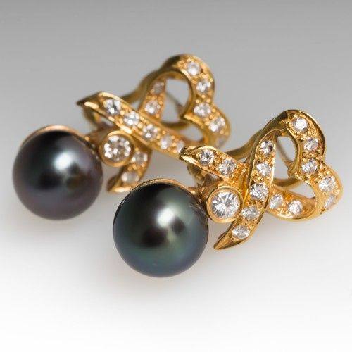 Tahitian Pearl & Diamond Drop Earrings 18K Yellow Gold