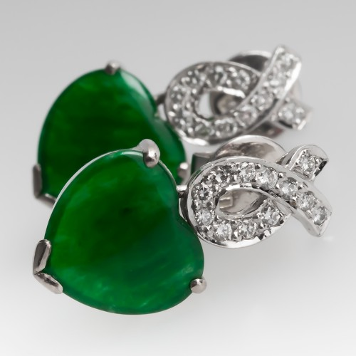 Heart Cut Untreated Jadeite A-Jade & Diamond Dangle Earrings 18K