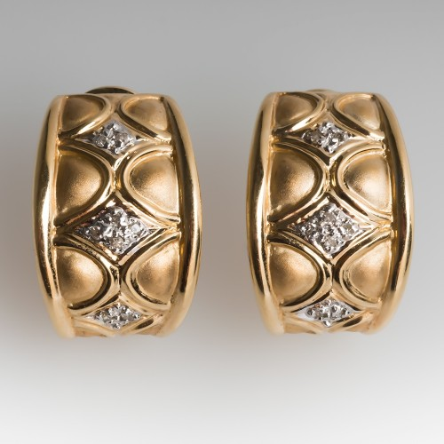 Matte & Polished 14K Yellow Gold Single Cut Diamond Huggie Earrings