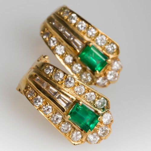 Emerald & Diamond Huggie Earrings 18K Yellow Gold