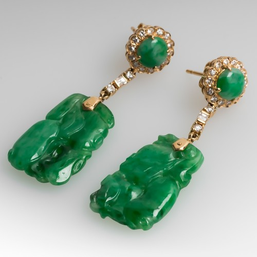 Carved Untreated Jadeite A-Jade & Diamond Dangle Earrings 14K