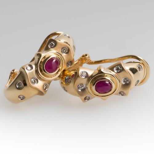 14K Ruby & Diamond Huggie Earrings Bezel & Flush Set
