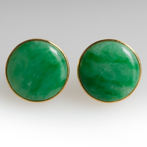 Untreated Jadeite A-Jade Bezel Earrings 18K Yellow Gold