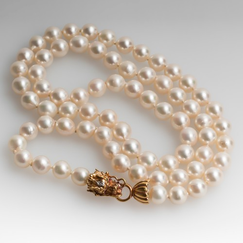 27 Inch Pearl Strand Necklace w/  14K Dragon Clasp