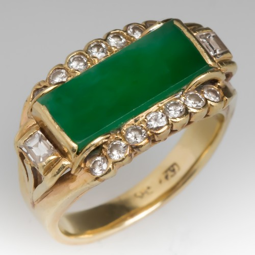 Grade A Jadeite Jade & Diamond Vintage 14K Gold Ring
