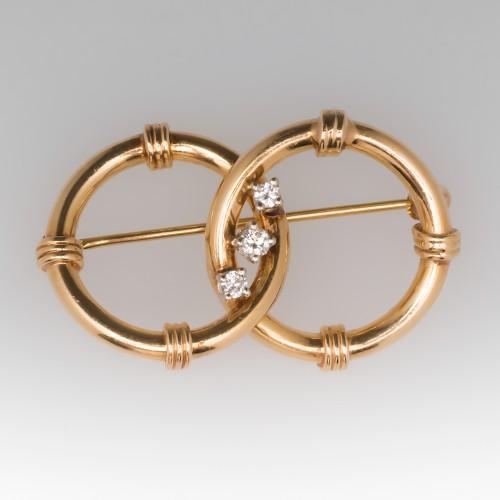 1960's Double Hoop Style 14K Yellow Gold & Diamond Brooch