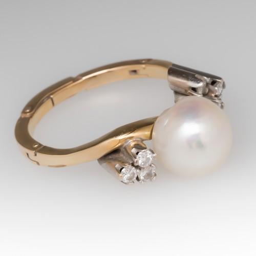 1970's Baroque Pearl & Diamond Ring 14K Finger Mate Shank