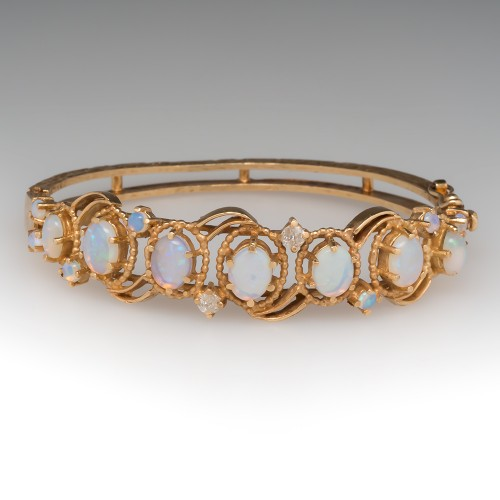 Crystal Opal & Diamond Bangle Bracelet 14K Yellow Gold