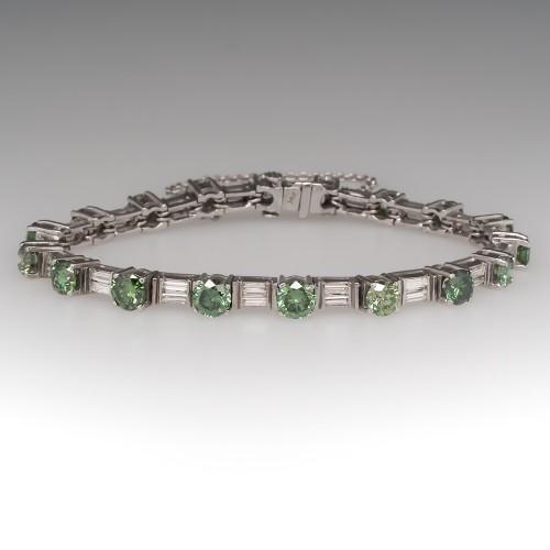 7 Carat Green Diamond Bracelet w/Baguette Accents