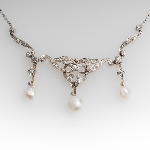 Edwardian Natural Pearl & European Cut Diamond Lavalier Necklace 14K & Platinum