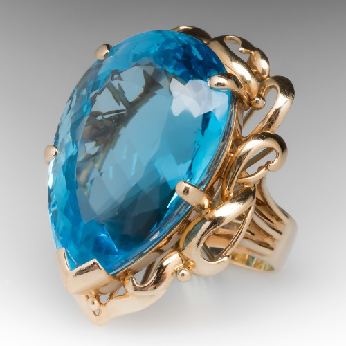 Vintage 50 Carat Pear Cut Blue Topaz Cocktail Ring 14K