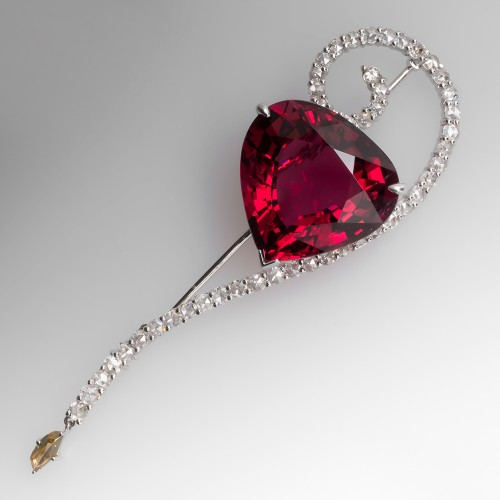 29 Carat Rubellite Tourmaline & Rose Cut Diamond Brooch 18K