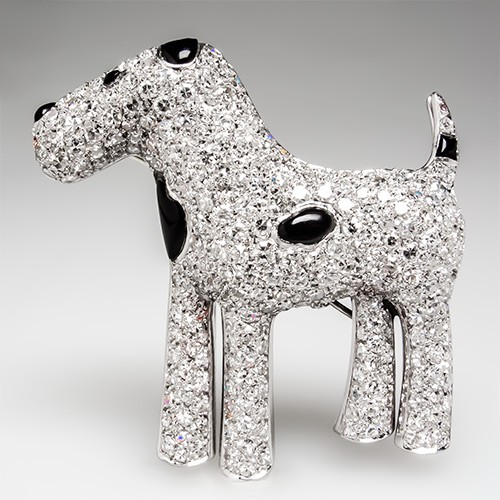 Diamond & Onyx Dog Brooch
