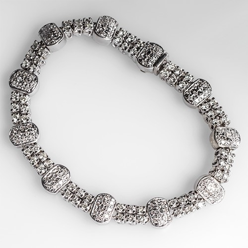 Diamond Tennis Bracelet w/ Stations in 18K White Gold