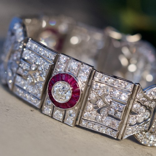 Art Deco Platinum Diamond & Ruby Halo Bracelet Antique 1920's