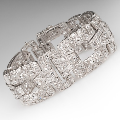 French 1930's Art Deco Bracelet 12 Carats of Diamonds