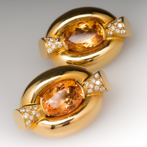 12 Carat Precious Topaz & Diamond Large Huggie Earrings 18K