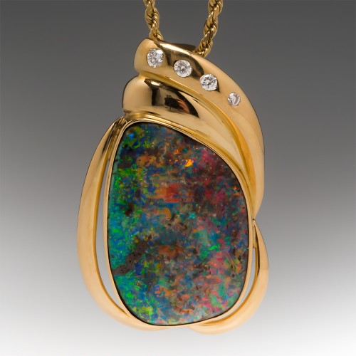 20 Carat Natural Freeform Boulder Opal & Diamond Enhancer Pendant 18K