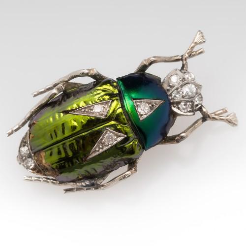 Natural Beetle Shell & Diamond Beetle Brooch Pin 14K