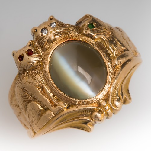 Mens Cats Eye Chrysoberyl Cat Ring 14K