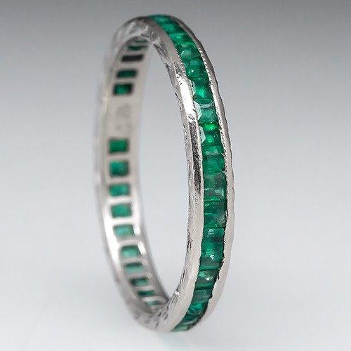 Emerald Eternity Wedding Band Ring