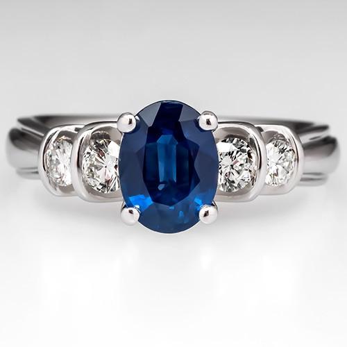 Blue Sapphire Verragio Engagement Ring