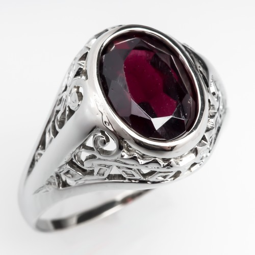 Vintage Filigree Garnet Ring