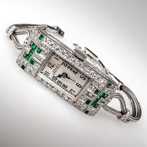1930's Deco Gruen Emerald & Diamond Watch