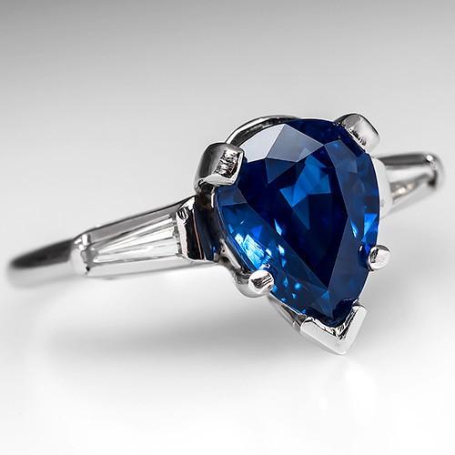 Vintage 3.3 Carat Pear Sapphire & Baguette Diamond Ring Platinum
