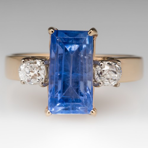 4 Carat No Heat Light Blue Sapphire Diamond Ring