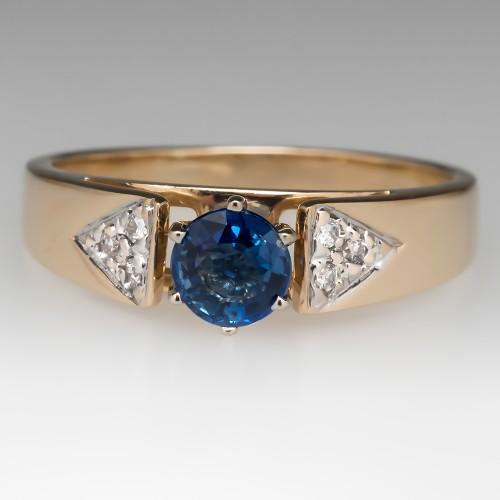 1/2 Carat Blue Sapphire Diamond Ring