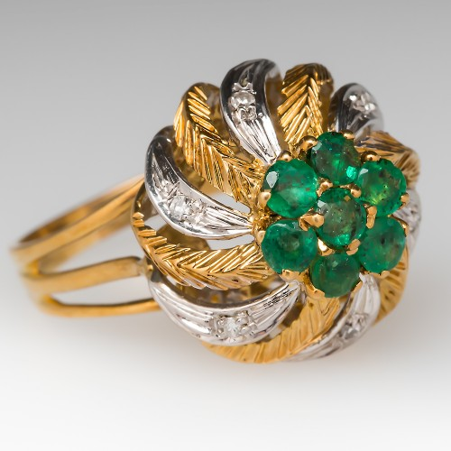 Emerald Diamond 1960's Cocktail Ring