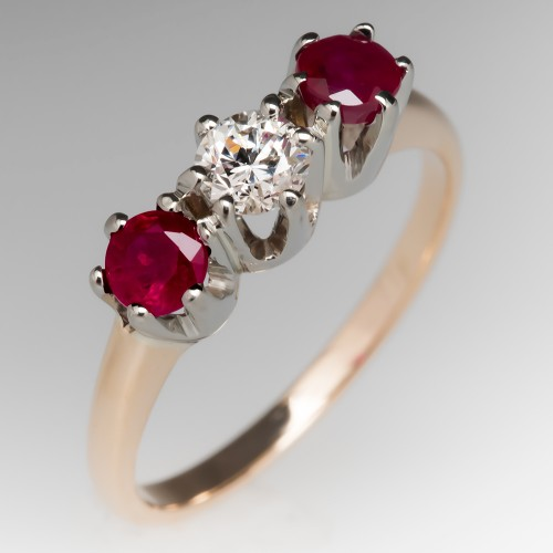 Three Stone Yellow Gold Ruby Diamond Ring