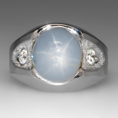 Mens White Star Sapphire Diamond Ring