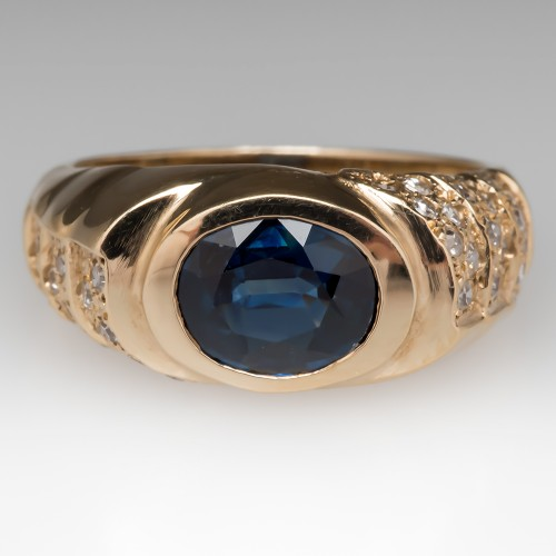 Slightly Greenish Blue Sapphire & Diamond Ring