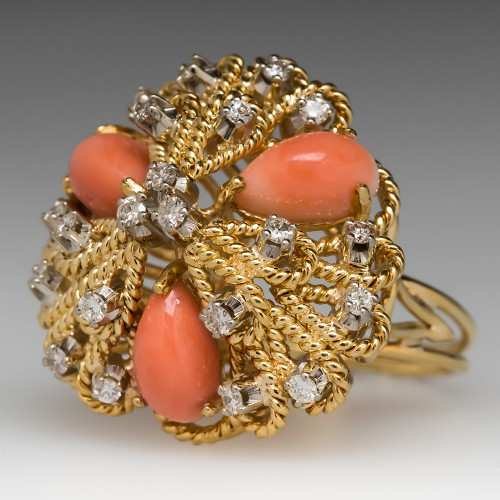 18K Coral Cocktail Ring w/ Diamonds