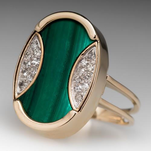 Retro 1960's Malachite Diamond Cocktail Ring