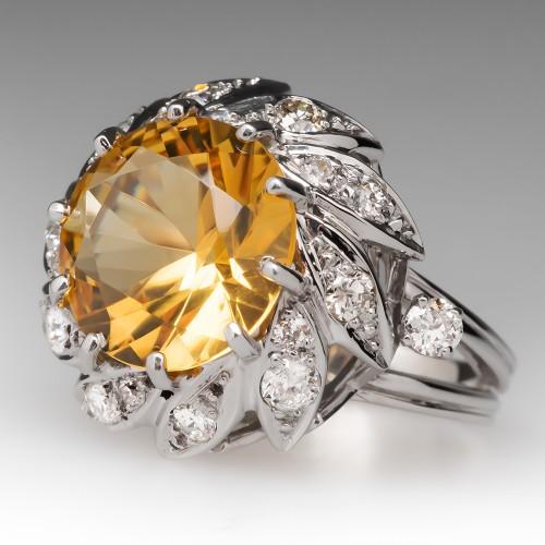 Vintage 7 Carat Citrine & Diamond Cocktail Ring 14K