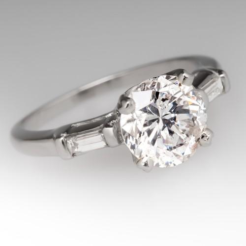 Vintage 1.55 Carat Diamond Ring w/ Baguette Accents in Platinum