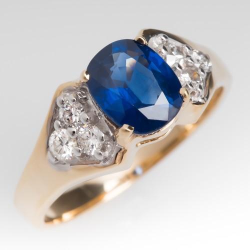 Low Profile Cushion Cut Blue Sapphire & Diamond Ring 14K