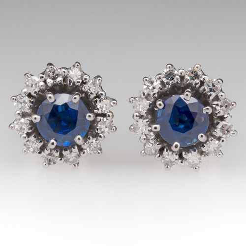 Rich Blue Sapphire & Single Cut Diamond Halo Stud Earrings 18K