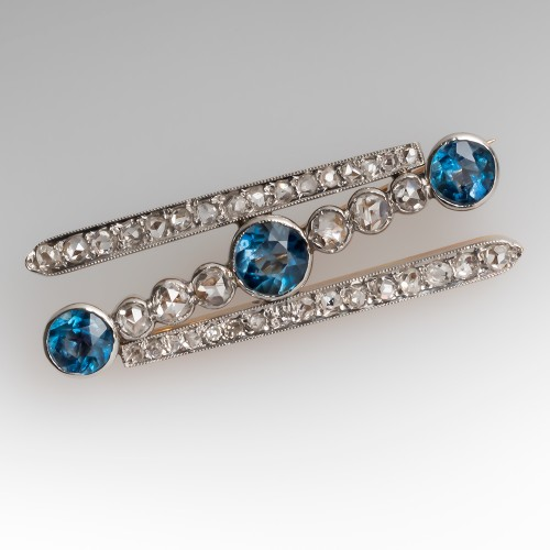Late Victorian Aquamarine & Rose Cut Diamond Brooch Pin 18K & Platinum