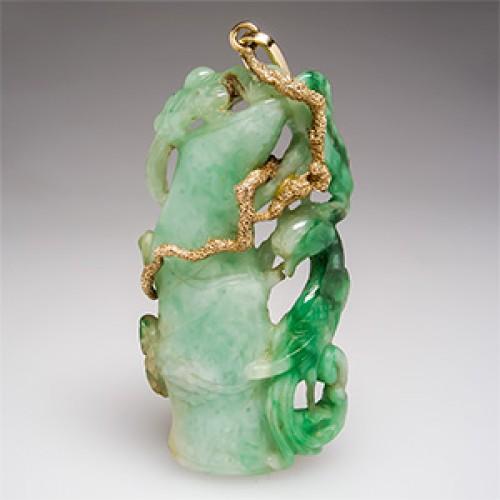 Antique Jadeite Jade Fenghuang Pendant