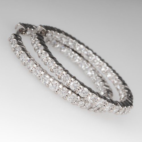Roberto Coin 30mm White Gold Diamond Hoop Earrings  2.84ct $6980 Retail