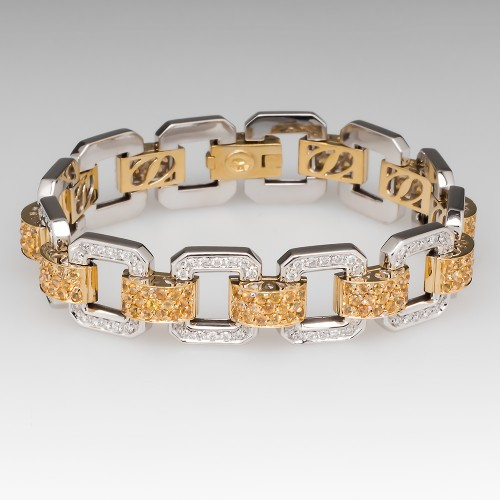 Yellow Sapphire & Diamond 7-Inch Fancy Link Bracelet 18K